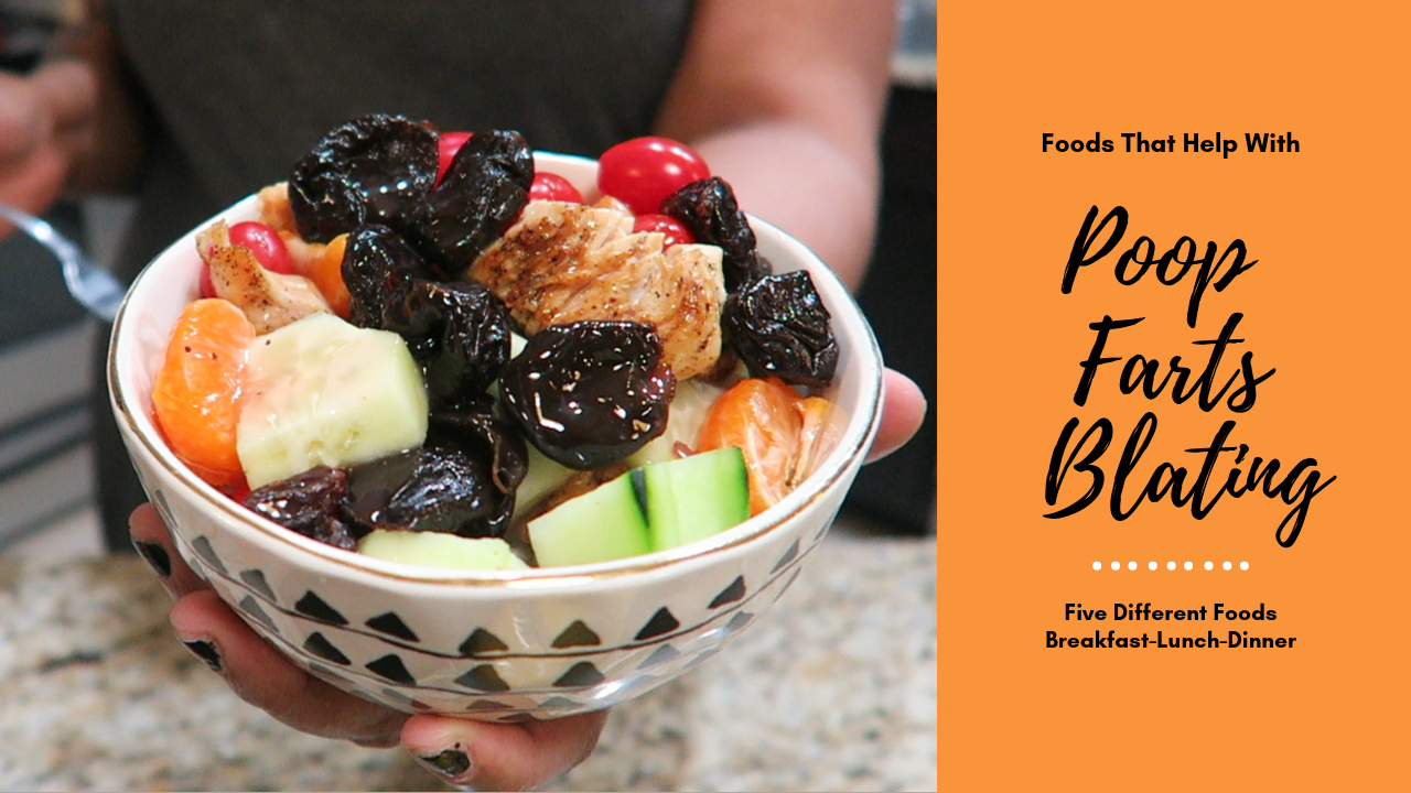 Image: A woman holding a bowl of prunes, raisins , cucumbers , and oranges. She is showing what she eats to poop, fart and release bloating. Seen first on Bits and babbles Blog written by Tangie Bell