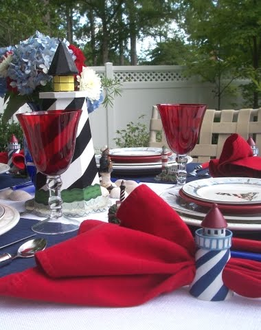 blue white and red beach table