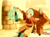 Aang, fair-skinned boy and his mentor Gyatso, airbending monks. Gyatso wears saffron robes of an elder monk, while Aang wears the yellow tunic and orange belt and cape of Air Nomad novices. both have blue arrows tattooed on their heads