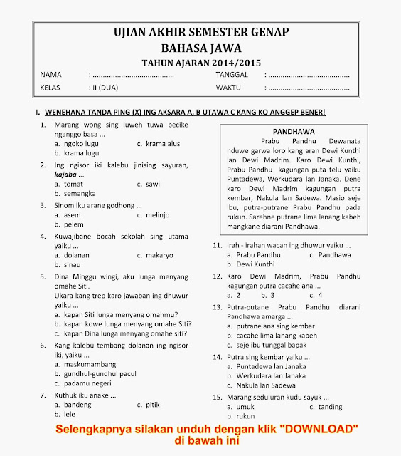Soal Uas Sd Kelas 2 Semester Genap Kumpulan Soal Utsmid Semester Sdmi Kelas 12345 Dan 6 Download Soal Ukk Uas Genap Bahasa Jawa Kelas 2 Semester 2 Tahun