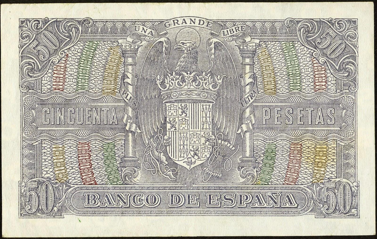 Spain money currency 50 Pesetas banknote 1940 Coat of arms of Spain
