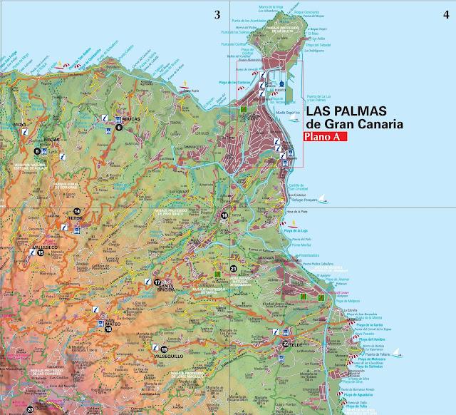 Mapa de Las Palmas e Nordeste da Ilha de Gran Canaria