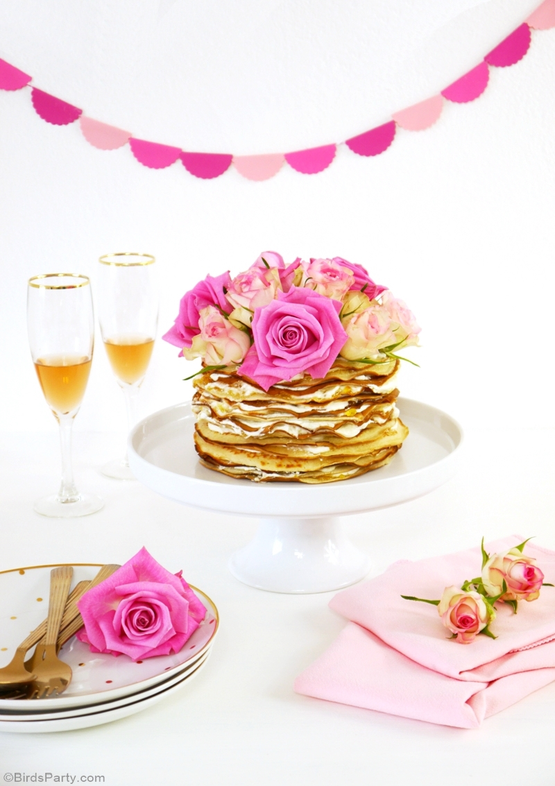 Crepe Cake with Rosewater & Marmalade Mascarpone Cream Recipe - BirdsParty.com