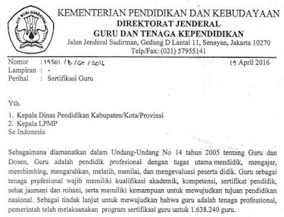 surat edaran resmi resmi kemdikbud perihal penghapusan sergur PPGJ SG-PPG 2016sekaligus perpanjangan masa verifikasi dan validasi data calon peserta sergur