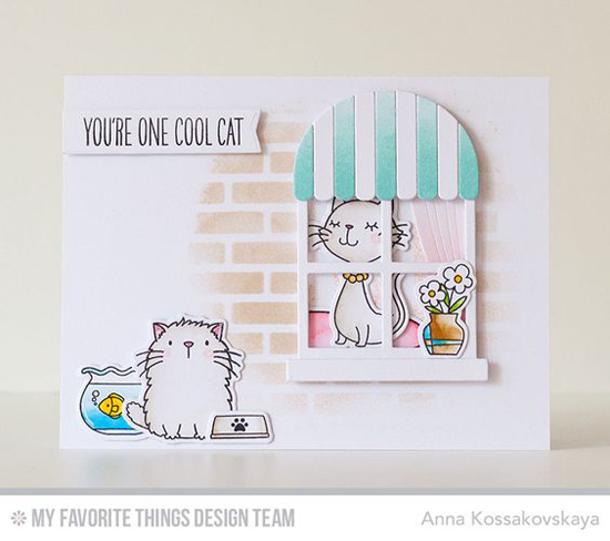 Handmade card from Anna Kossakovskaya featuring Birdie Brown Cool Cat stamp set and Die-namics and Boutique Window, Brick Wall Cover-Up and Blueprints 28 Die-namics #mftstamps
