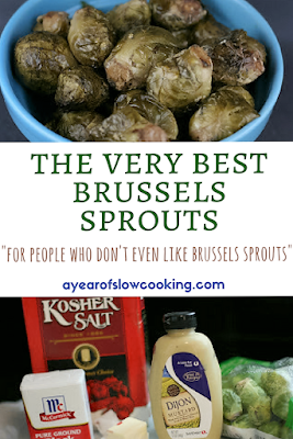 Fantastic recipe for your Holiday table. My dad doesn't even LIKE brussels sprouts and he had three helpings! The butter and dijon mustard melt together to make a luxurious sauce and since it's a slow cooker recipe you can make them early in the day and get out of the kitchen!