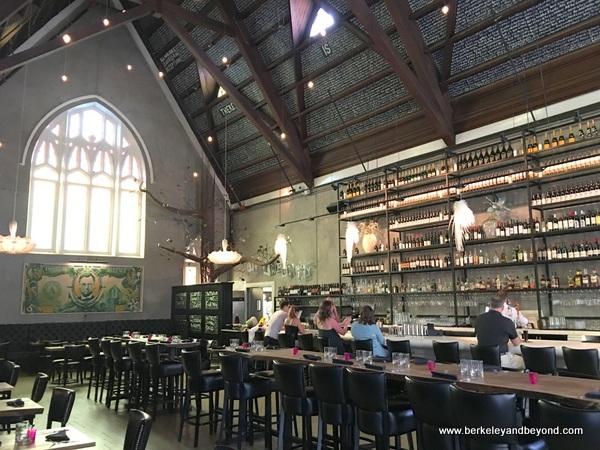 dramatic interior of 5 Church restaurant in Charleston, South Carolina