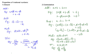 Closure and Commutative properties of Irrational numbers