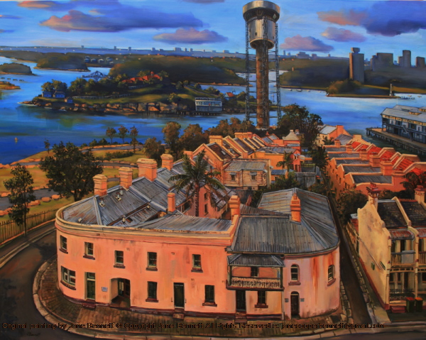 plein air oil painting of the Harbour Control Tower, Millers Point near Barangaroo, from the Palisade Hotel by industrial & maritime heritage artist Jane Bennett
