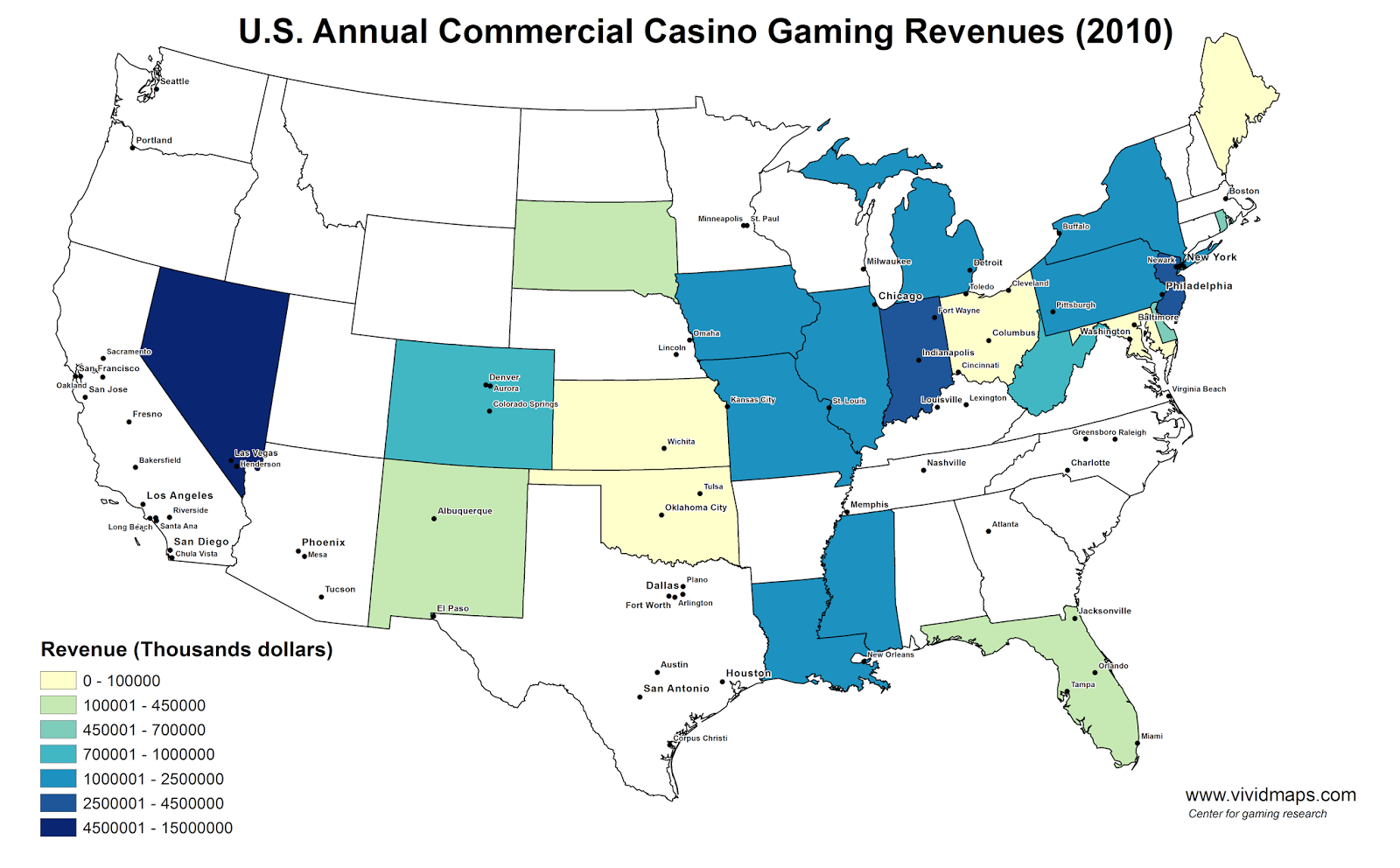 U.S. Annual Commercial Casino Gaming Revenues (2010)