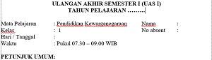 Soal UAS Semester 1 PKn Kelas 1 Dan Kunci Jawaban