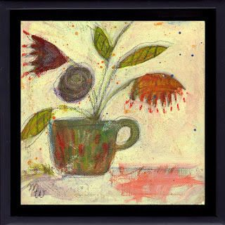 Conga mixed media framed floral painting by Pennsylvania artist Merrill Weber