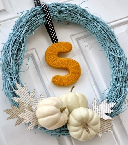 blue beach Fall wreath
