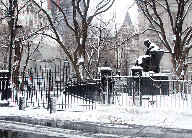 NYC Winter, City Hall Park, Blizzard of 2015