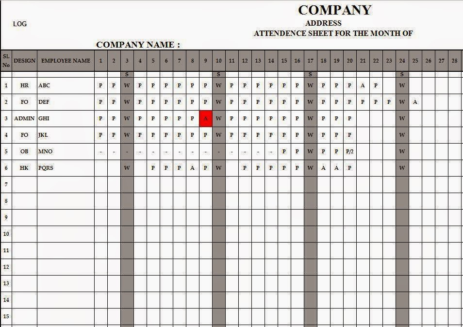 Employee Attendance Register In Excel Free Download