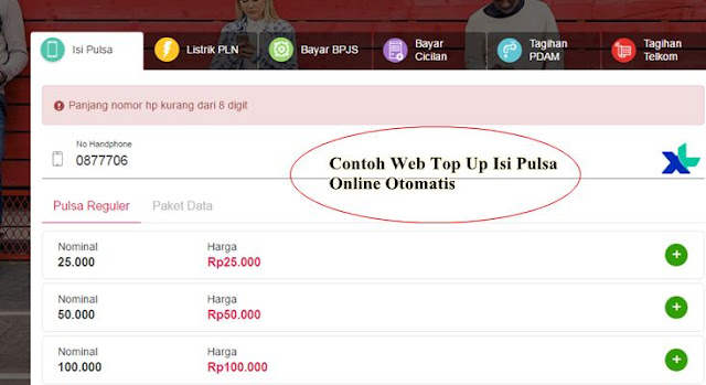 Contoh Web Top Up Isi Pulsa Online