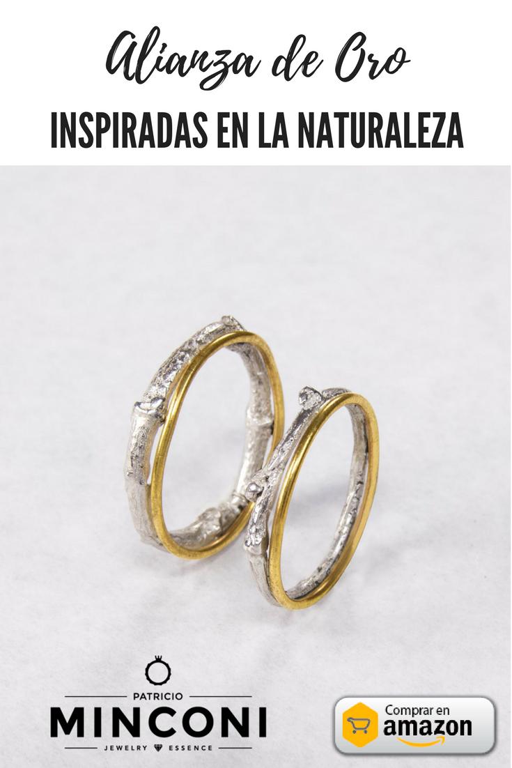 El regalo perfecto:Alianza de Oro y plata de ley - Inspiradas en la naturaleza - Infinito