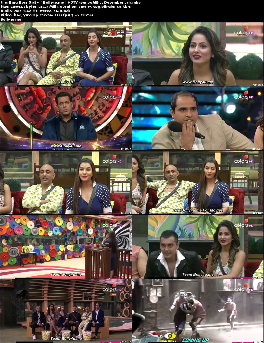 Bigg Boss S11E91 HDTV 480p 200MB 30 Dec 2017 Download
