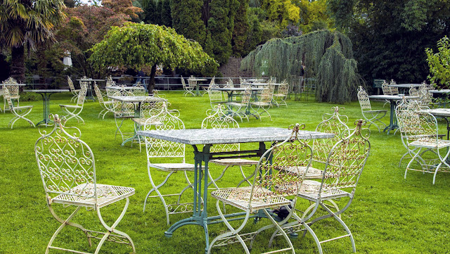 Tables and chairs at Mount Usher Gardens in County Wicklow