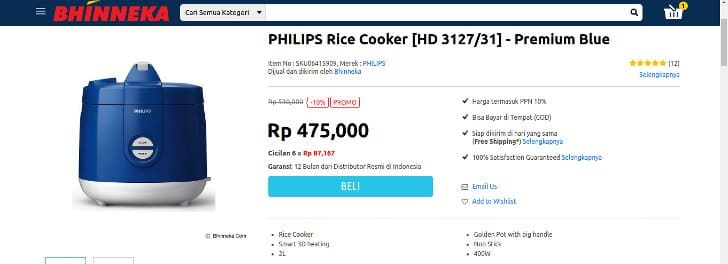 diskon-bhinneka-rice-cooker-phillips-hd-3127