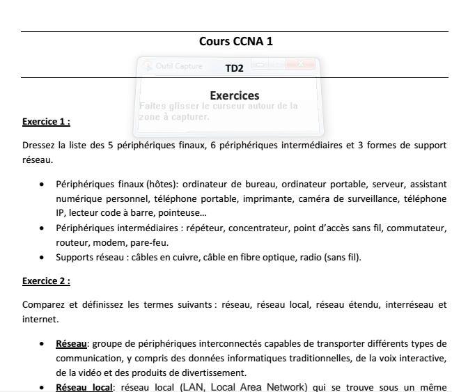 7 exercices corrigés en CCNA réseau télécom