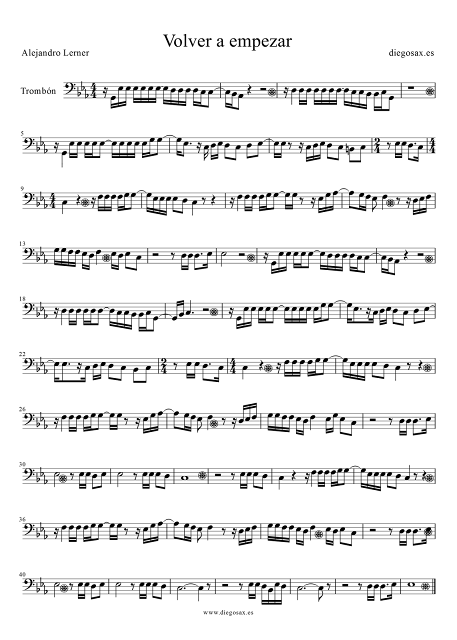 Partitura de Vover a empezar para Trombón y Bombardino de Alejandro Lerner Score Alto Trombón Sheet Music. También sirve para Bombardino.