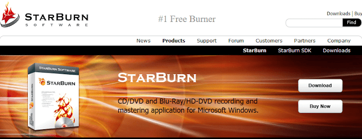 StarBurn software for DVD and CD burning