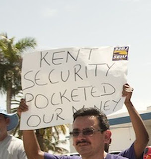 A Miami protester on strike accuses Kent Security of theft.