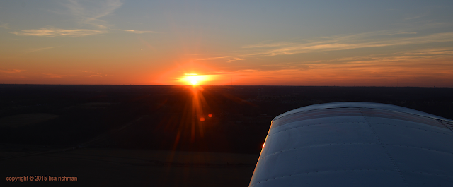 Sunset at 3,000 feet. Yeah, a girl is flying the plane! #womenfly #femaleavators