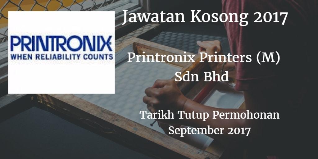 Jawatan Kosong Printronix Printers (M) Sdn Bhd September 2017