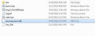 Tar Tool Odin ini mengubah syteam.img sebagai file tar.md5