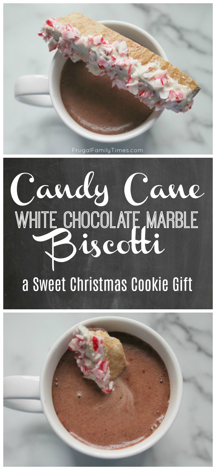 Candy Cane White Chocolate Marble Biscotti