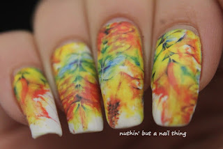 full nail water decal nail art design idea autumn