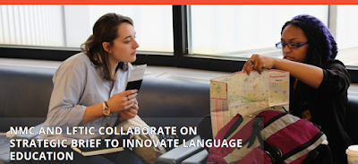 Snapshot of NMC web header, two, multi-national students engaged in conversation