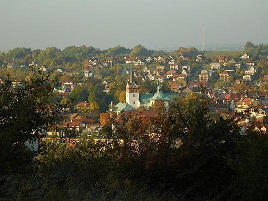 Kościół Narodzenia Najświętszej Maryi Panny w centrum Myślenic.