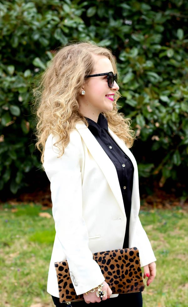 White Blazer, Clare V Leopard Clutch, Curly Hair