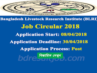 Bangladesh Livestock Research Institute (BLRI) Job Circular 2018