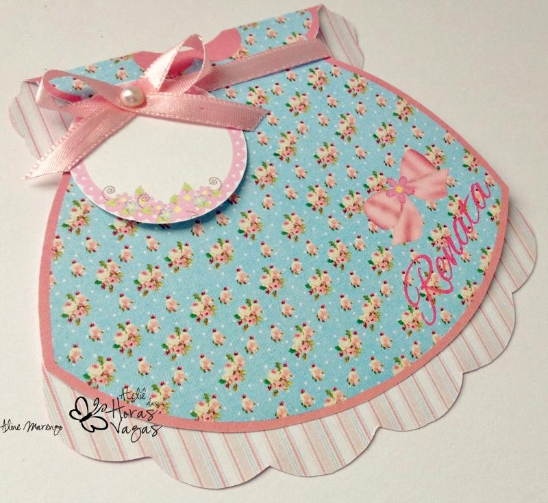 convite artesanal infantil provençal vestido de boneca floral azul e rosa menina aniversário 1 aninho jardim