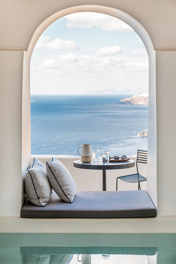 Porto Fira Suites in Santorini. Interior Design by Interior Design Laboratorium. Photography by Giorgos Sfakianakis