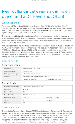 Near collision between an unknown object and a De Havilland DHC-8 (Report Pg 3) 3-19-14