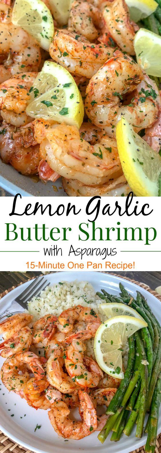 Quick Easy Lemon Garlic Butter Shrimp with Asparagus