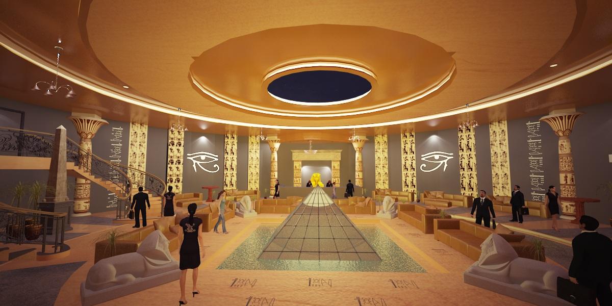 Eslam zaki pharaonic hotel reseption interior design for Hotel designer