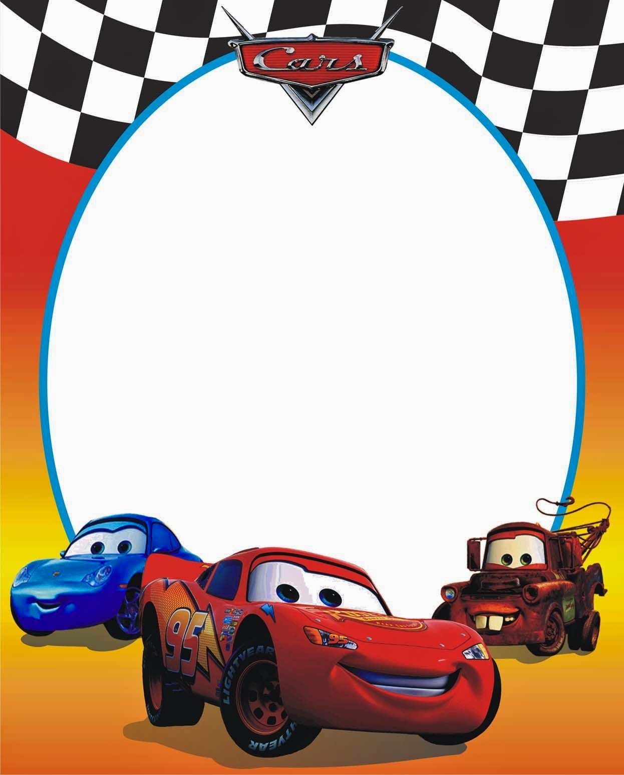Cars Invitation Card Template Free: Cars: Free Printable Photo Frames.