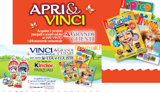Logo Con Kinder : vinci 50 abbonamenti Focus e Topolino