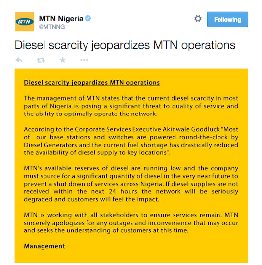Fuel scarcity jeopardizes MTN operations in Nigeria (MTN Nigeria released statement)