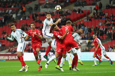 Gary Cahill in action for England in their 2-0 win over Malta this evening.