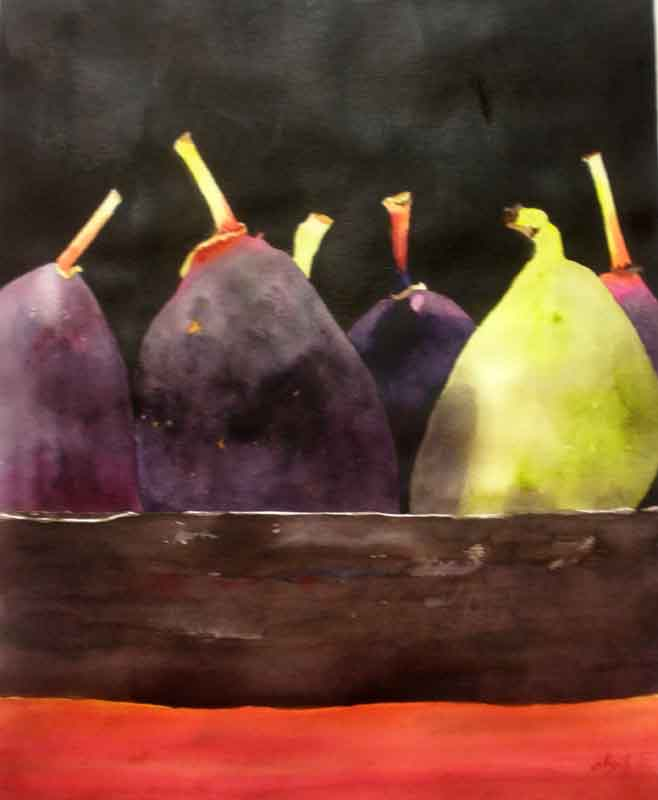 Sedwick Studio Purple Bowl Of Plums Fruit Bowl Still: KaySmithBrushworks: Figs In Wooden Bowl