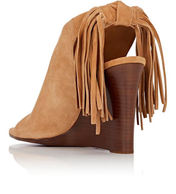 Fringe wedge sandals