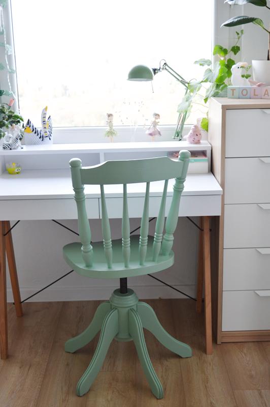 krzesło obrotowe, krzesło obrotowe do biurka, krzesło obrotowe dla dzieci, miętowe krzesło do biurka