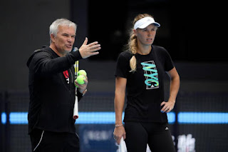 Caroline Wozniacki with her father,  Piotr Wozniacki